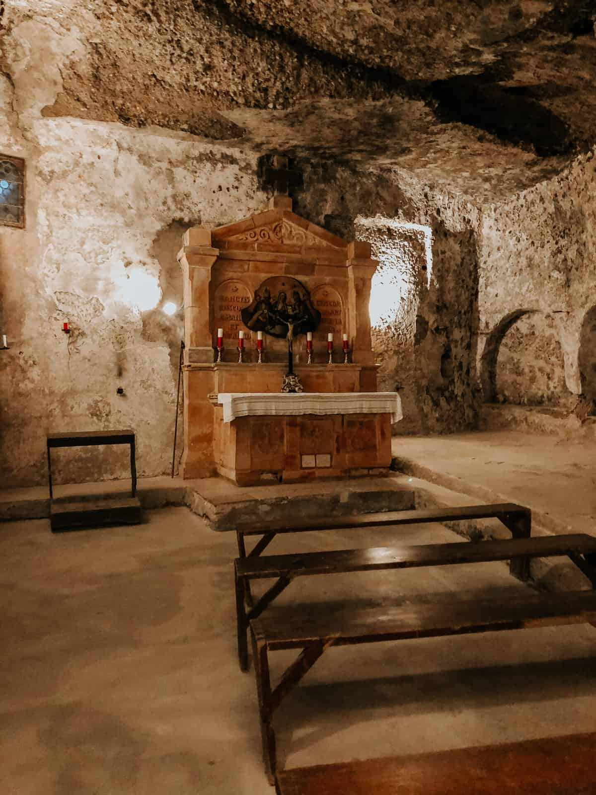 Under ground church with seats facing the ulter
