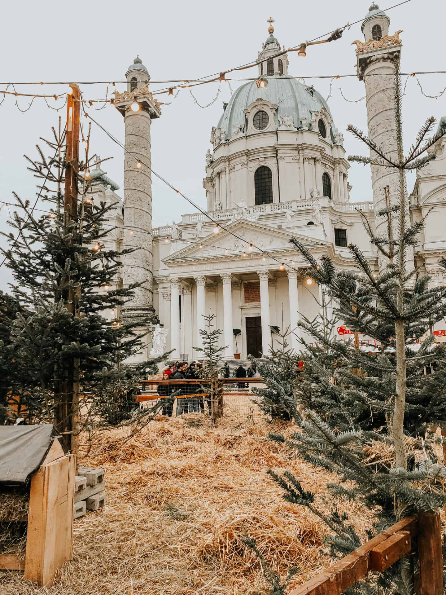 Hay, christmas trees and old church with a green dome