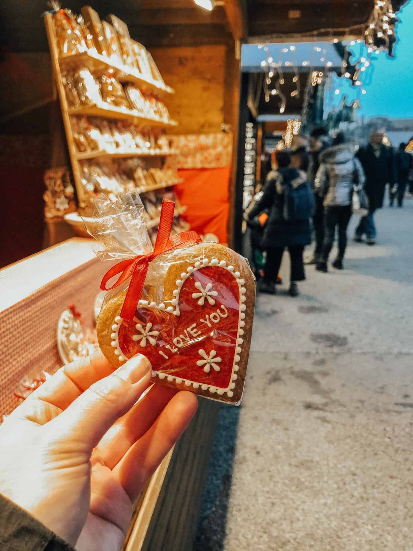 Ginger bread with I love you written on it, at a Vienna Christmas market