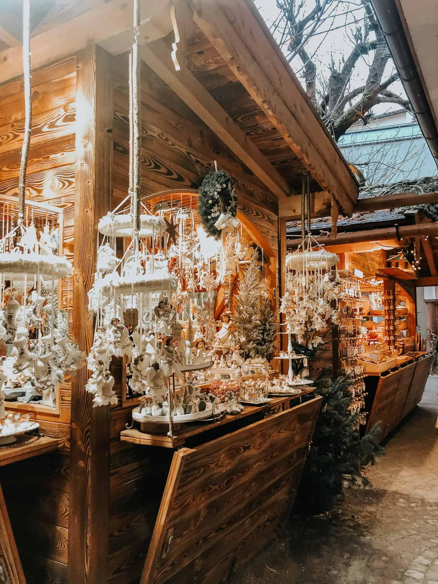 Sazlburg Christmas market wooden stall
