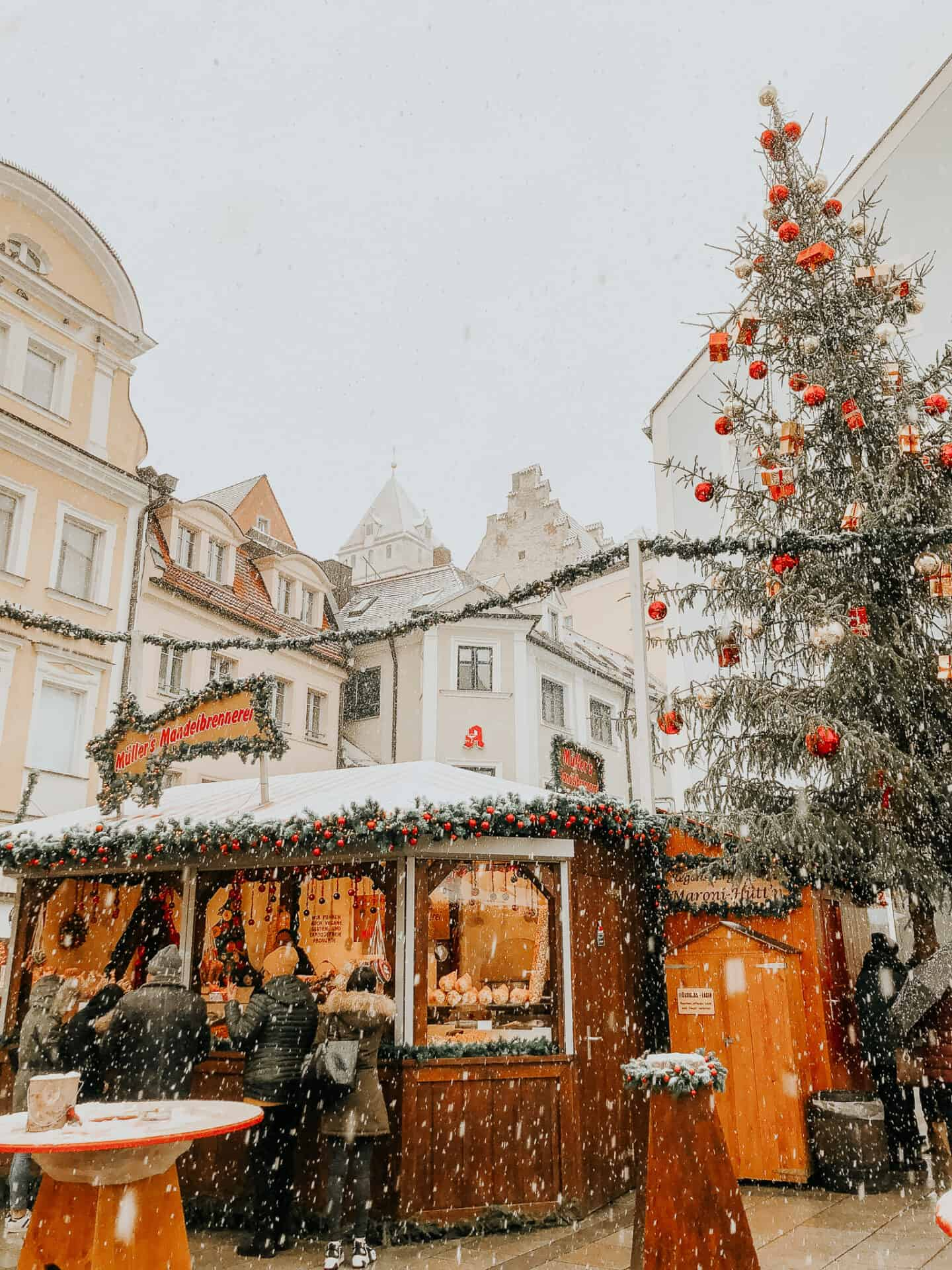 Snow Falling at Christmas Market