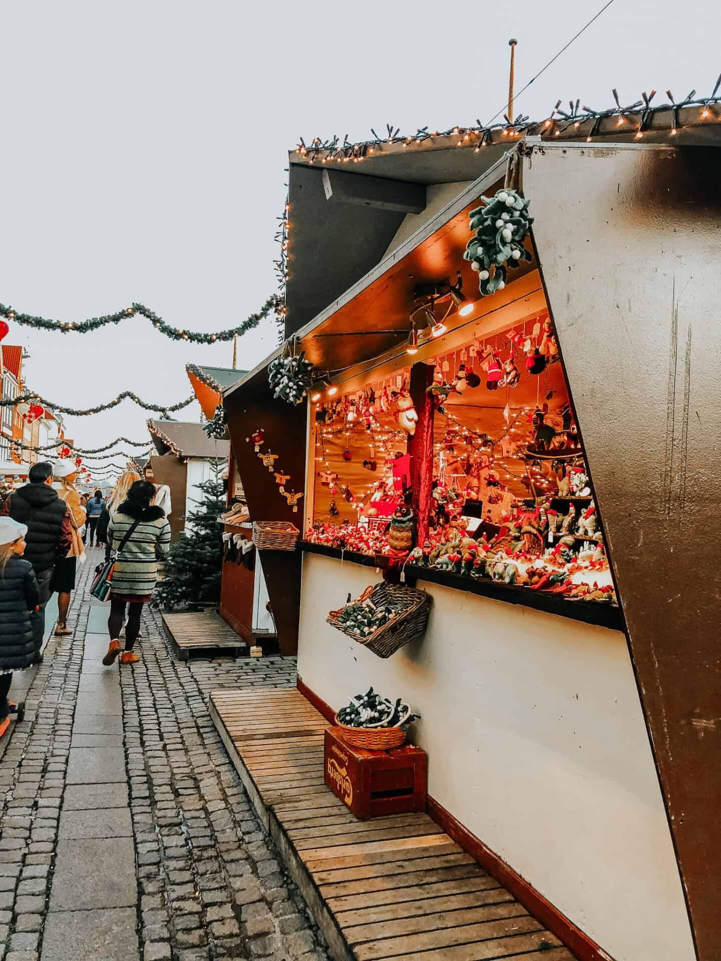 Christmas market hut at sunset