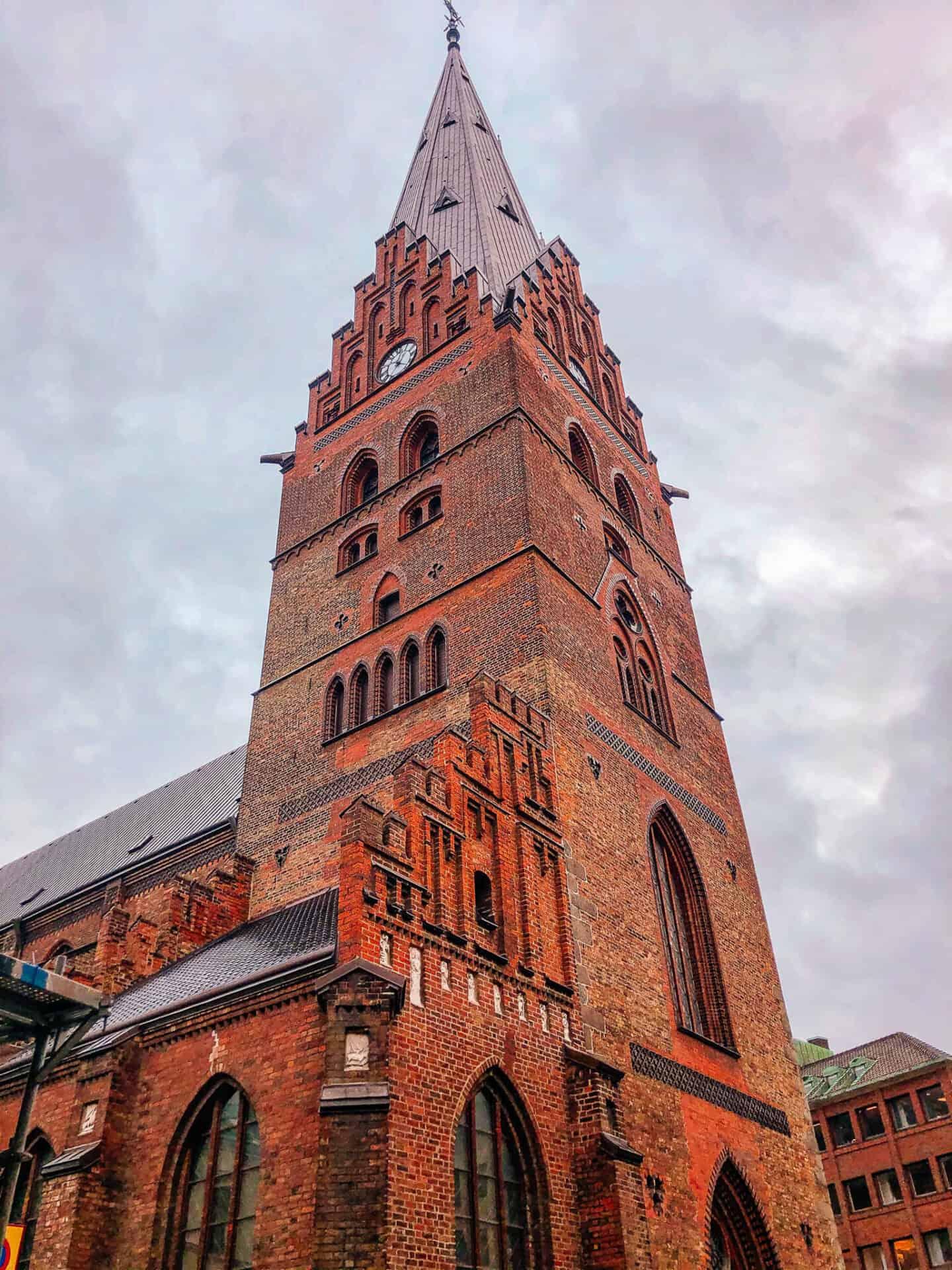 Old red brick church spire