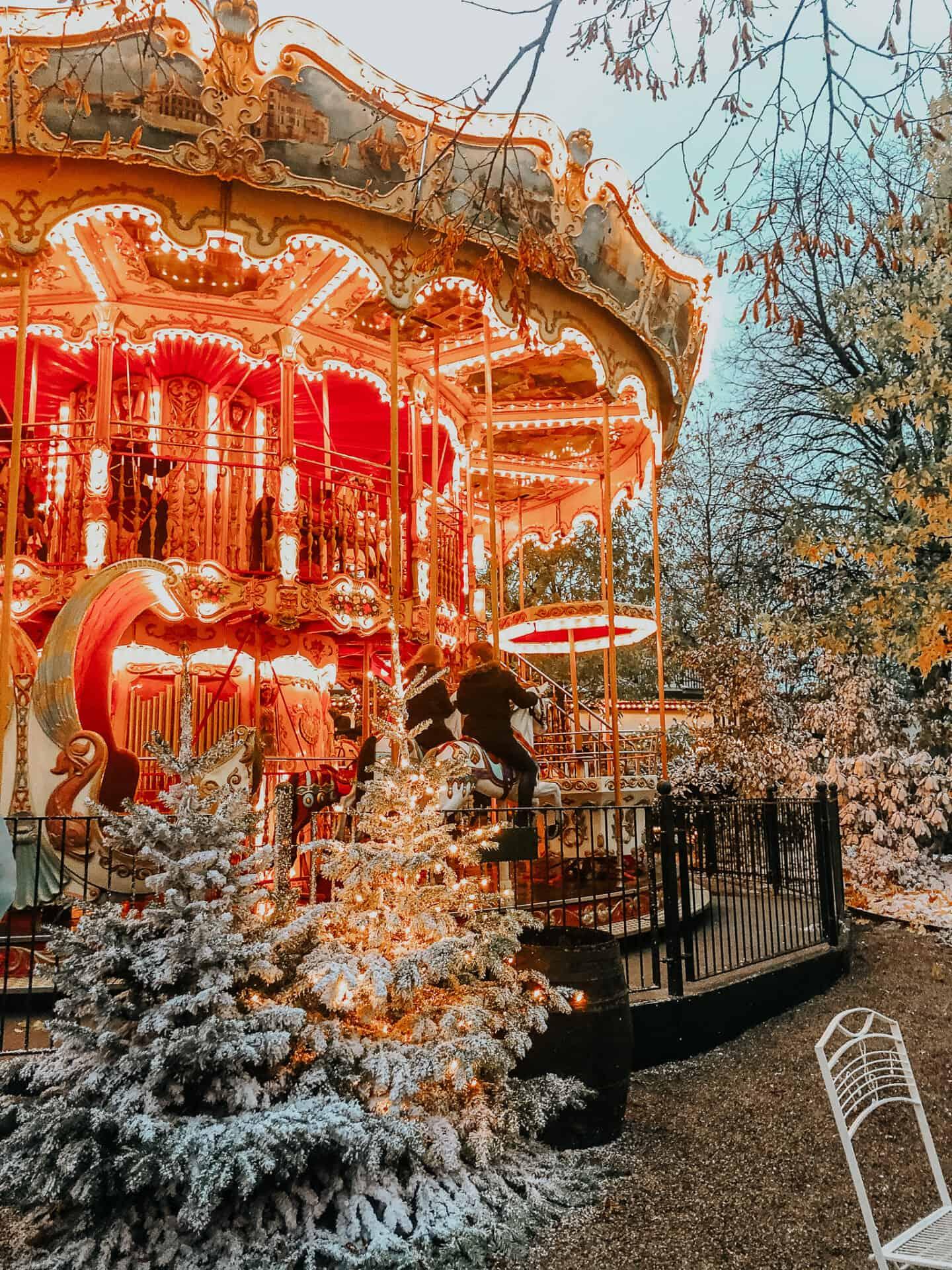 Merry go round at Tivoli Gardens, Copenhagen in winter