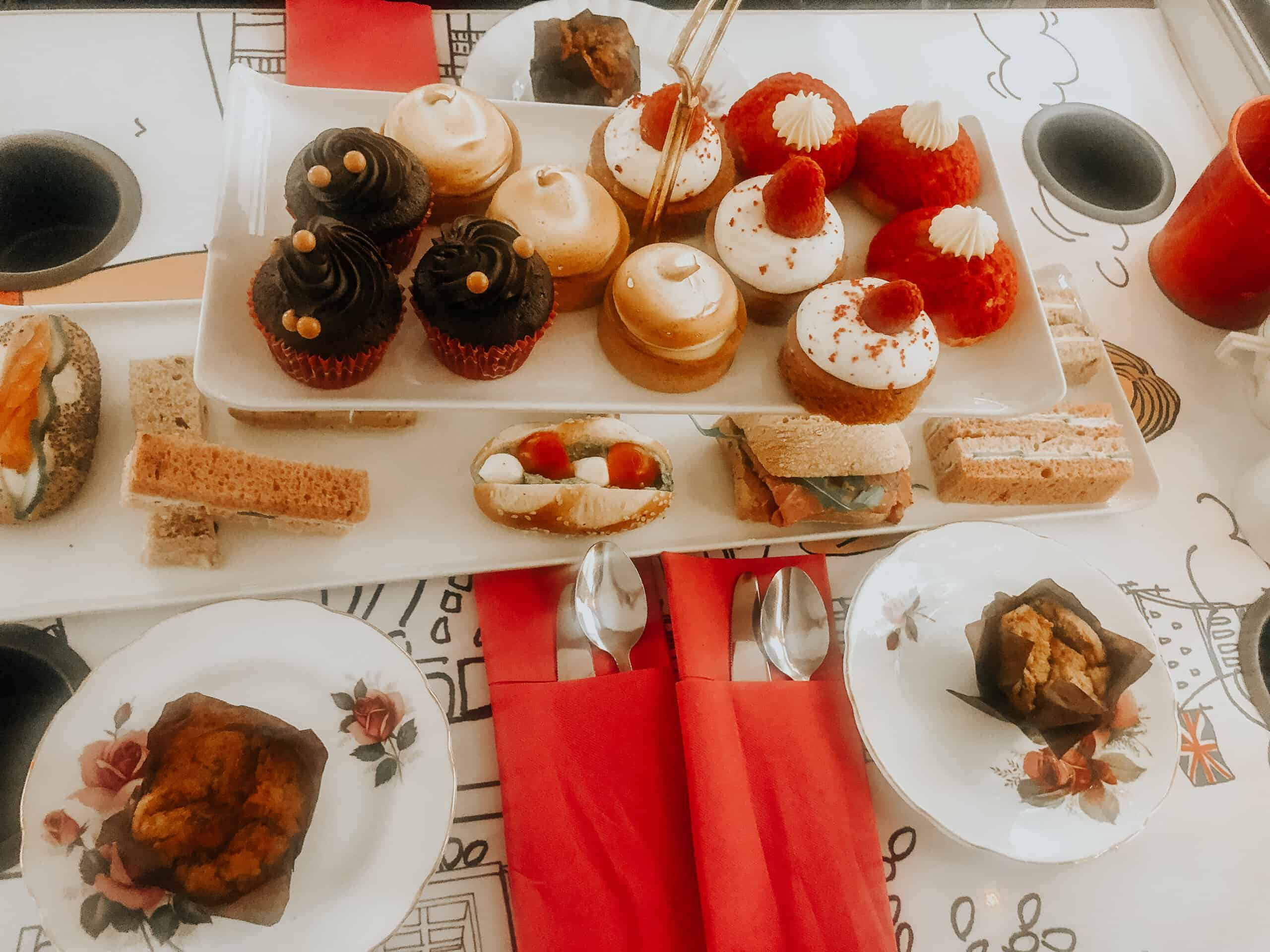 Afternoon tea arrangement on board of the Afternoon Tea Bus Tour London