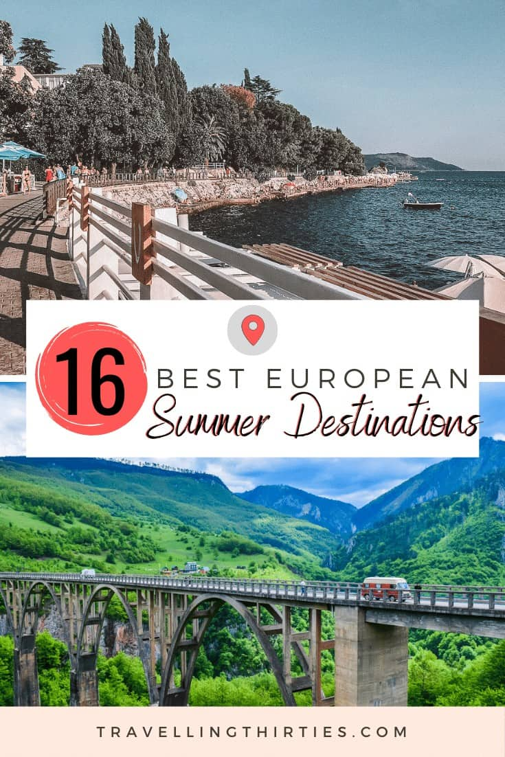 Pinterest Graphic for the best Europe Summer Destinations