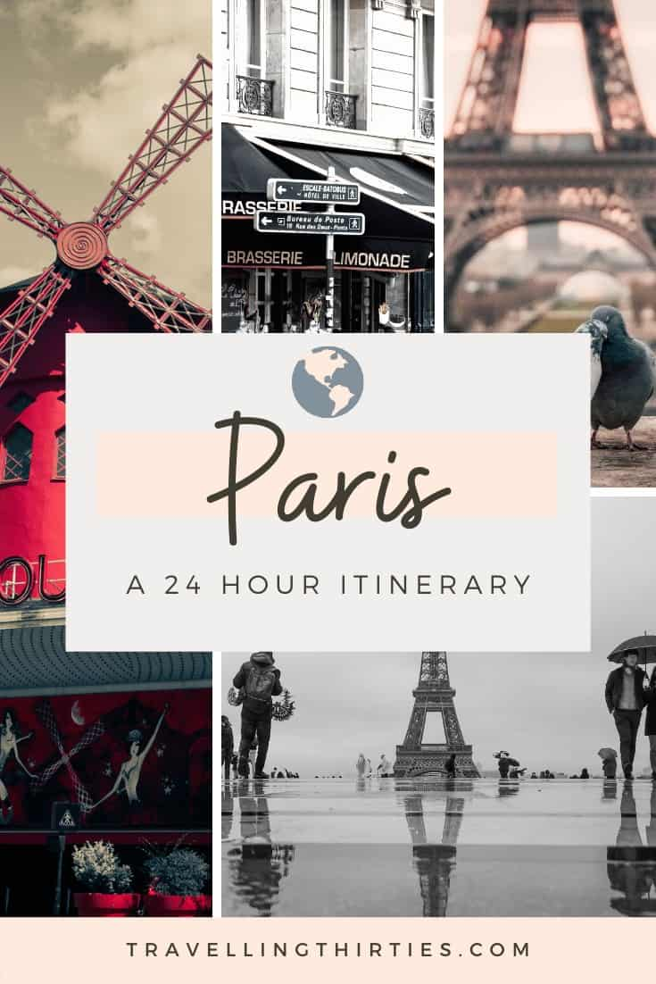A pinterest graphic for a 24 hour Paris itinerary