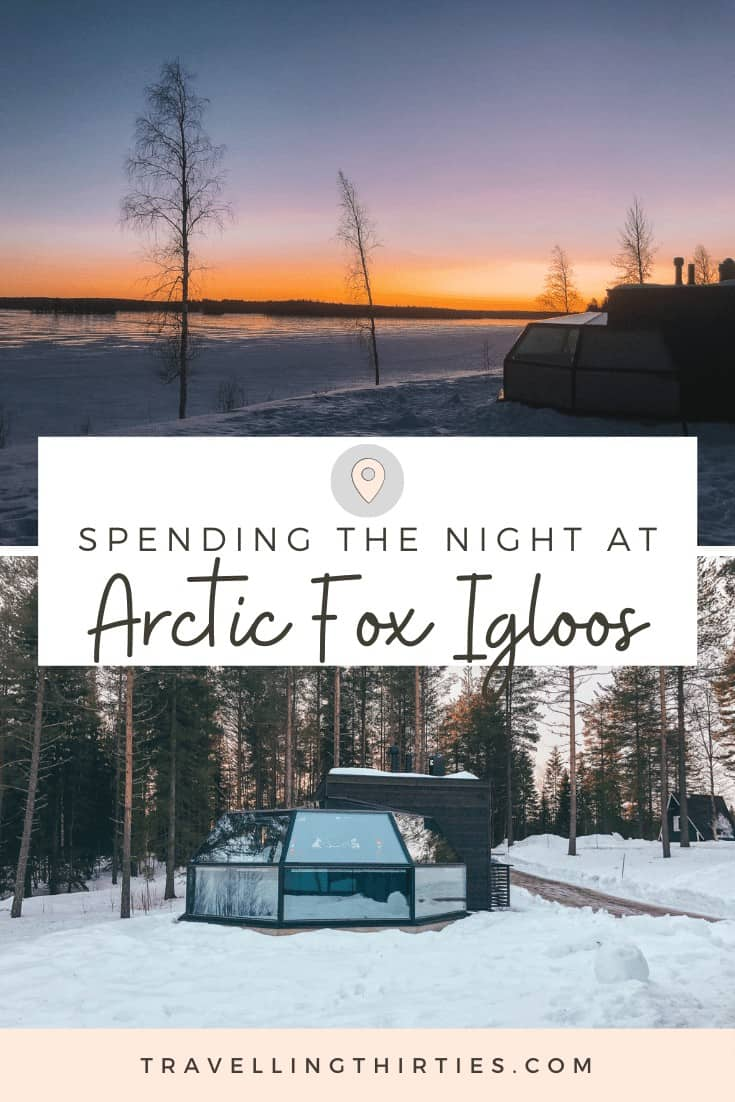 A pinterest graphic for the Arctic Fox Igloos