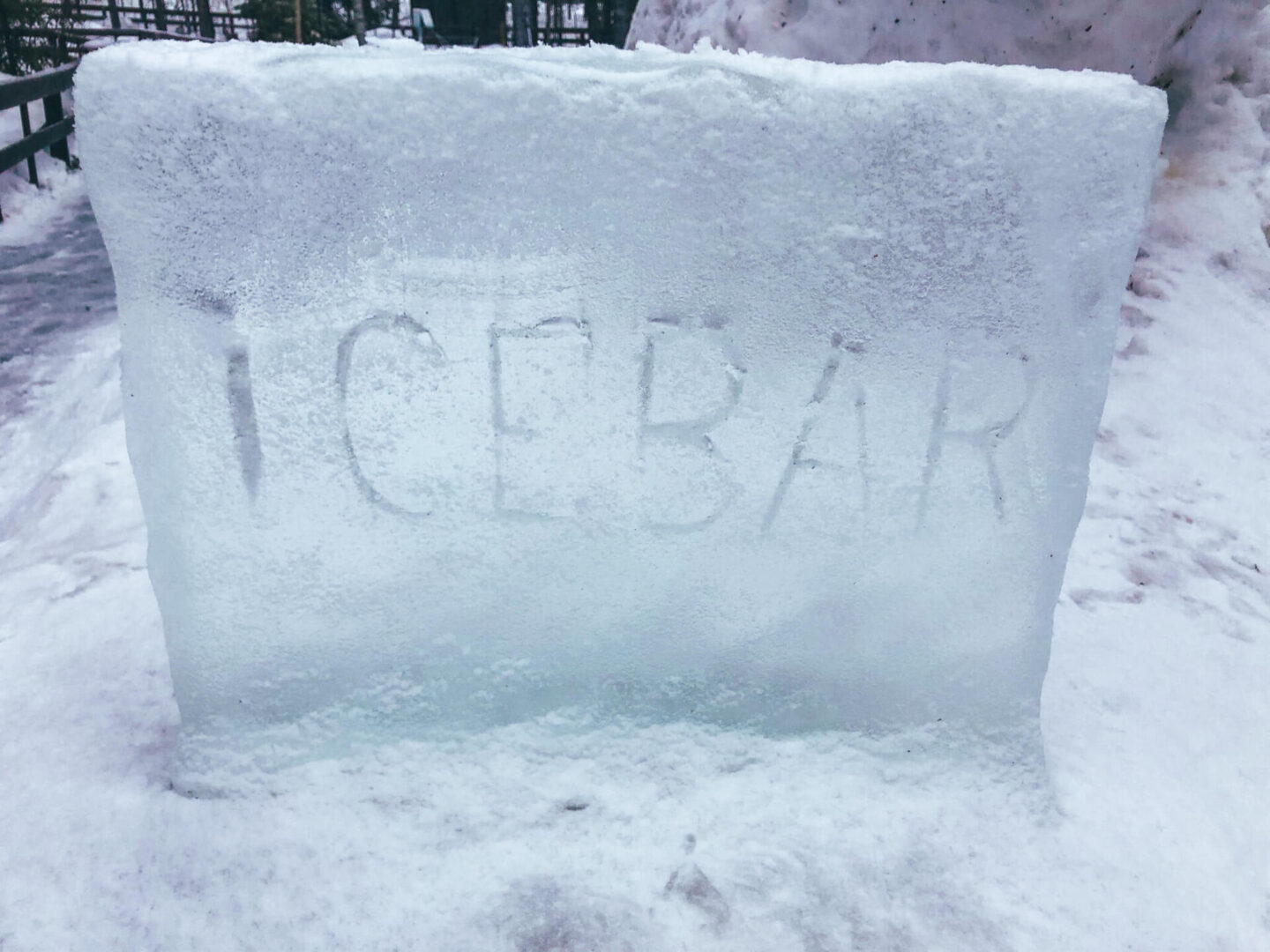 A block of ice with ice bar etched into the ice