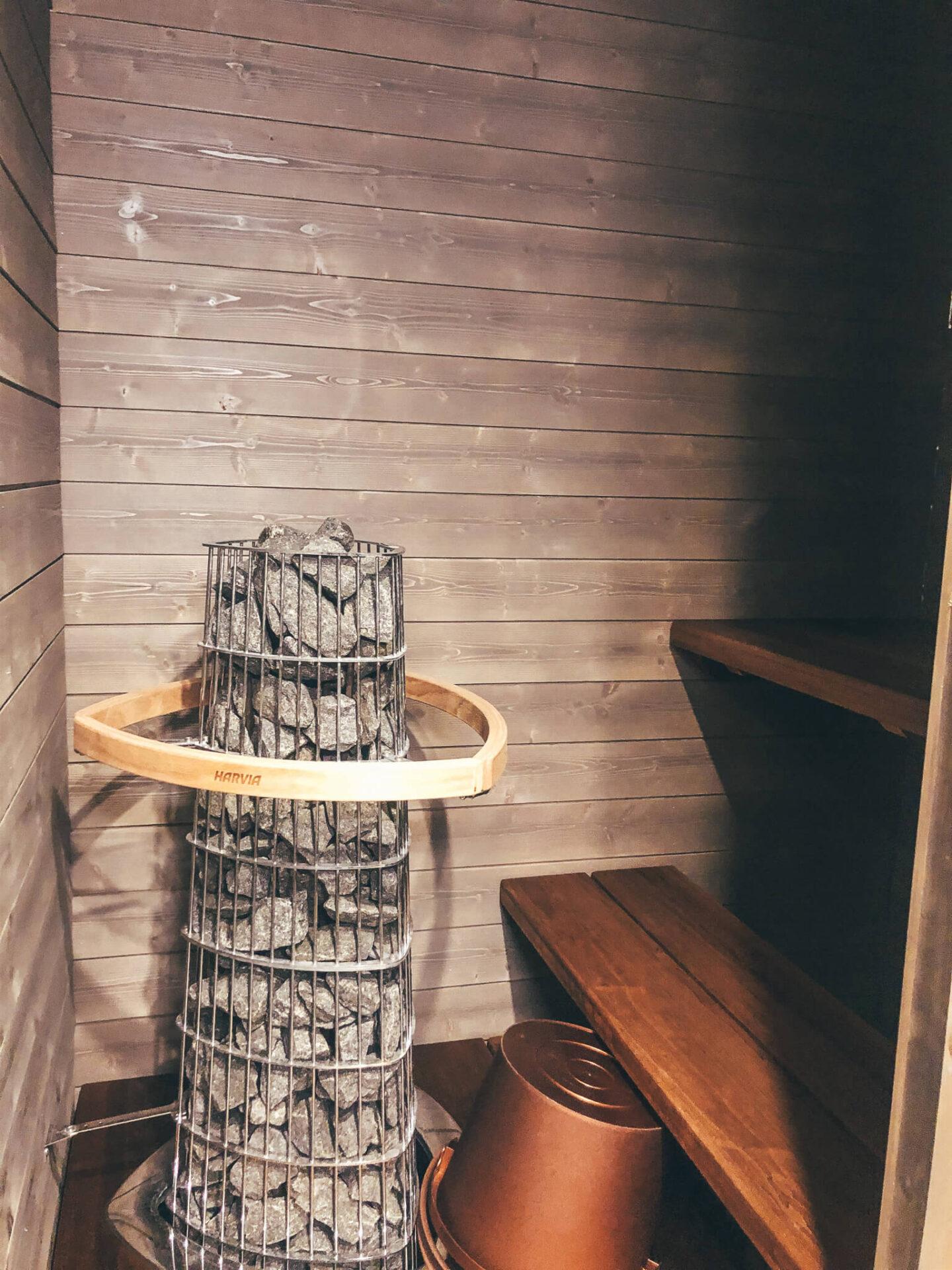 A wooden finnish sauna