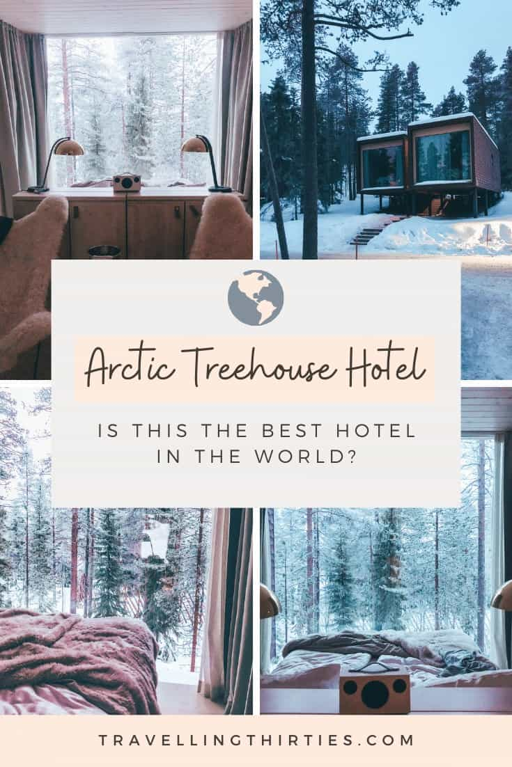 Pinterest Graphic for the Arctic Treehouse hotel Rovaniemi