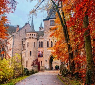 Autumn leaves surrounding the entrance to an old castle