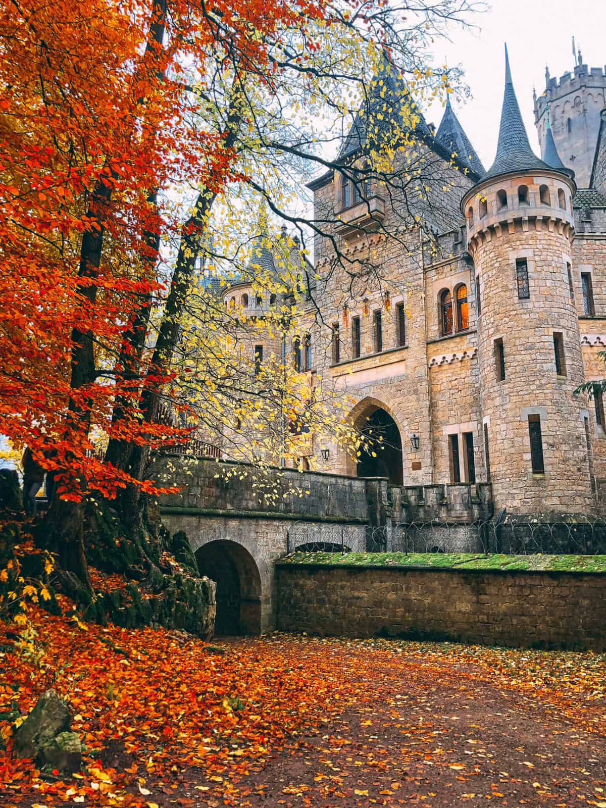 A bridge leading to an old stone castle with autumn leave trees