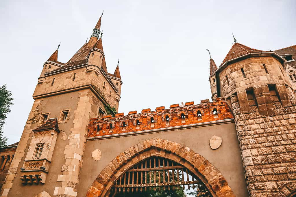 A castle gate and turrets