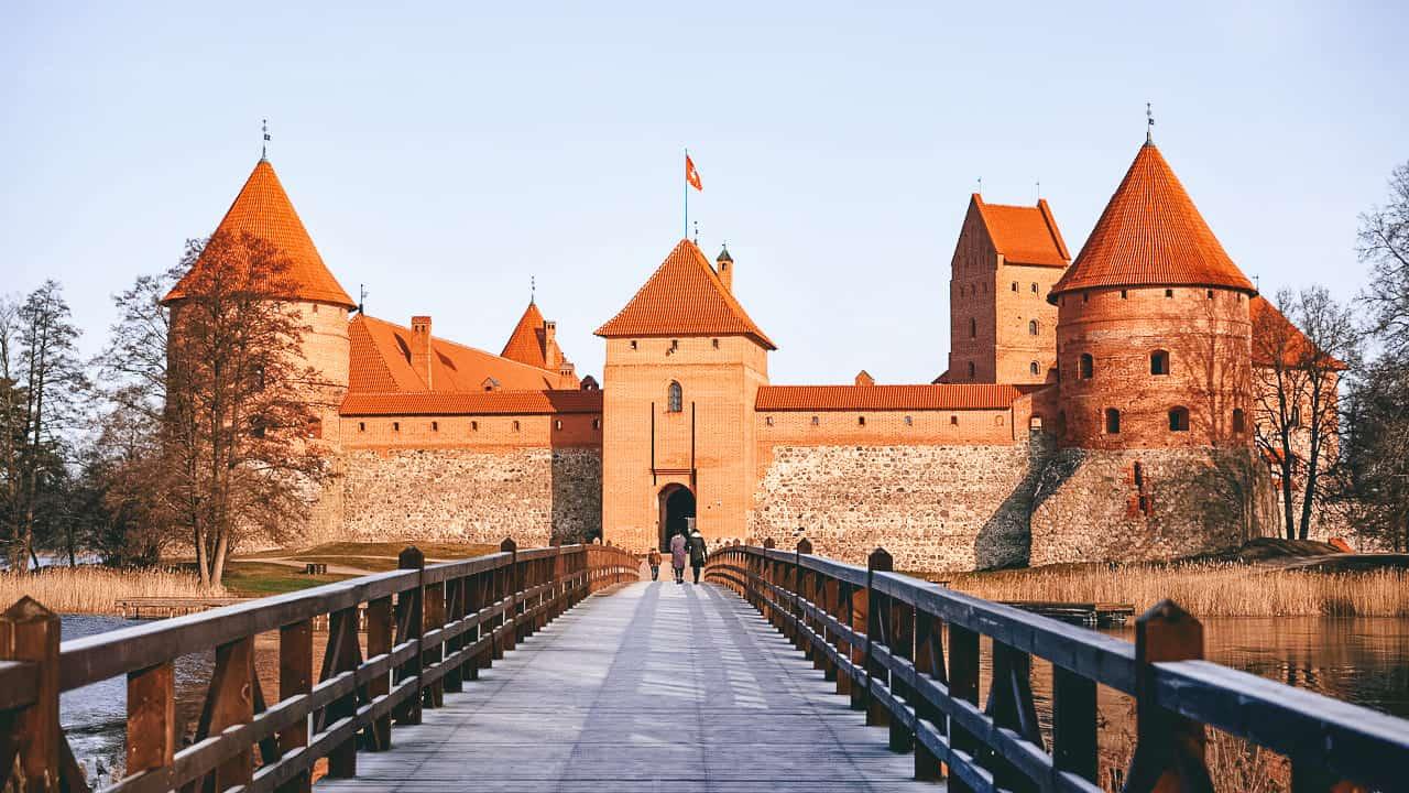 A bridge leading to a castle on an island
