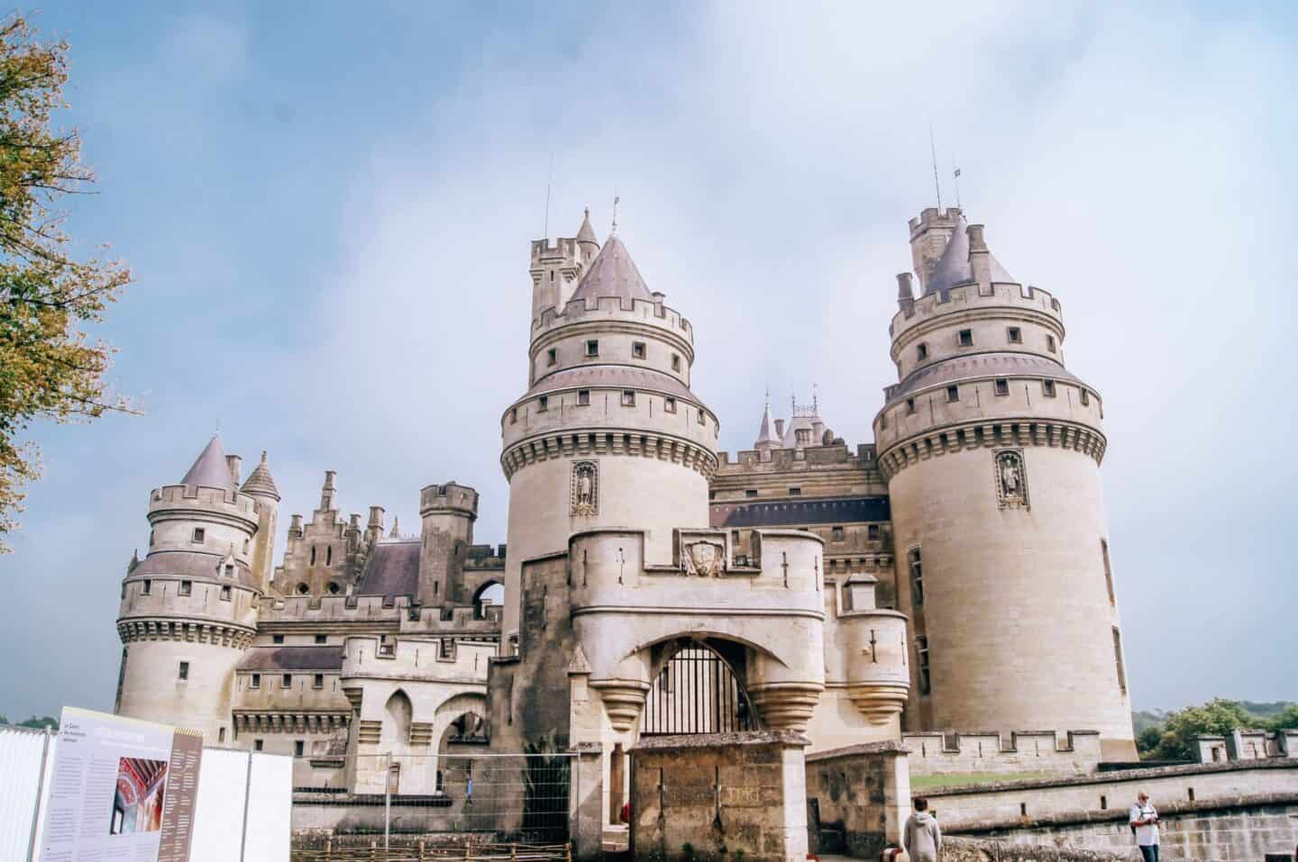 A white fairytale castle in Europe