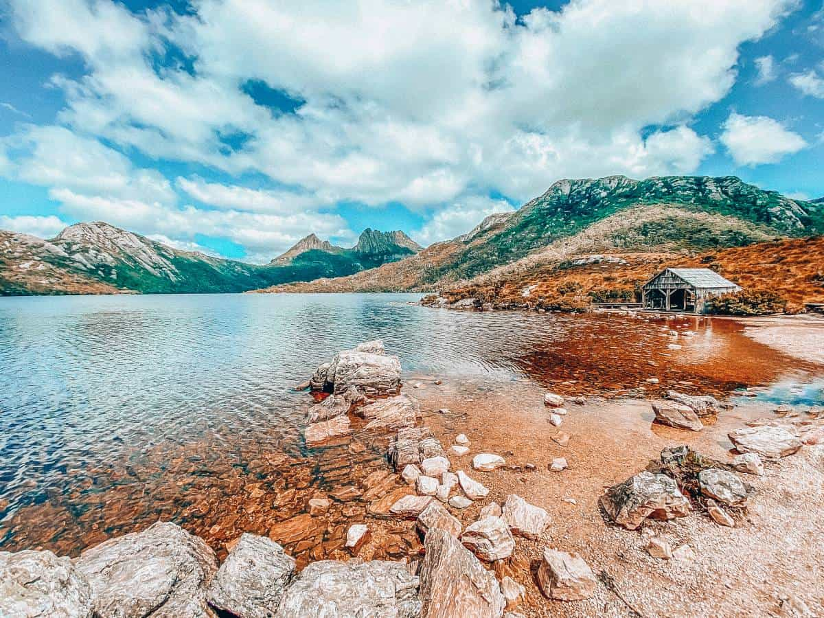 Mountains surrounding a lake