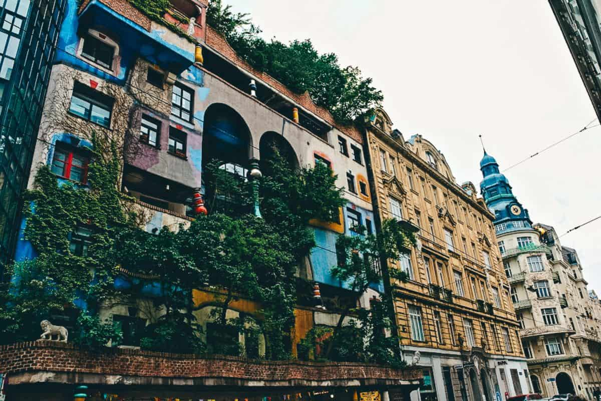 Colourful buildings in a city