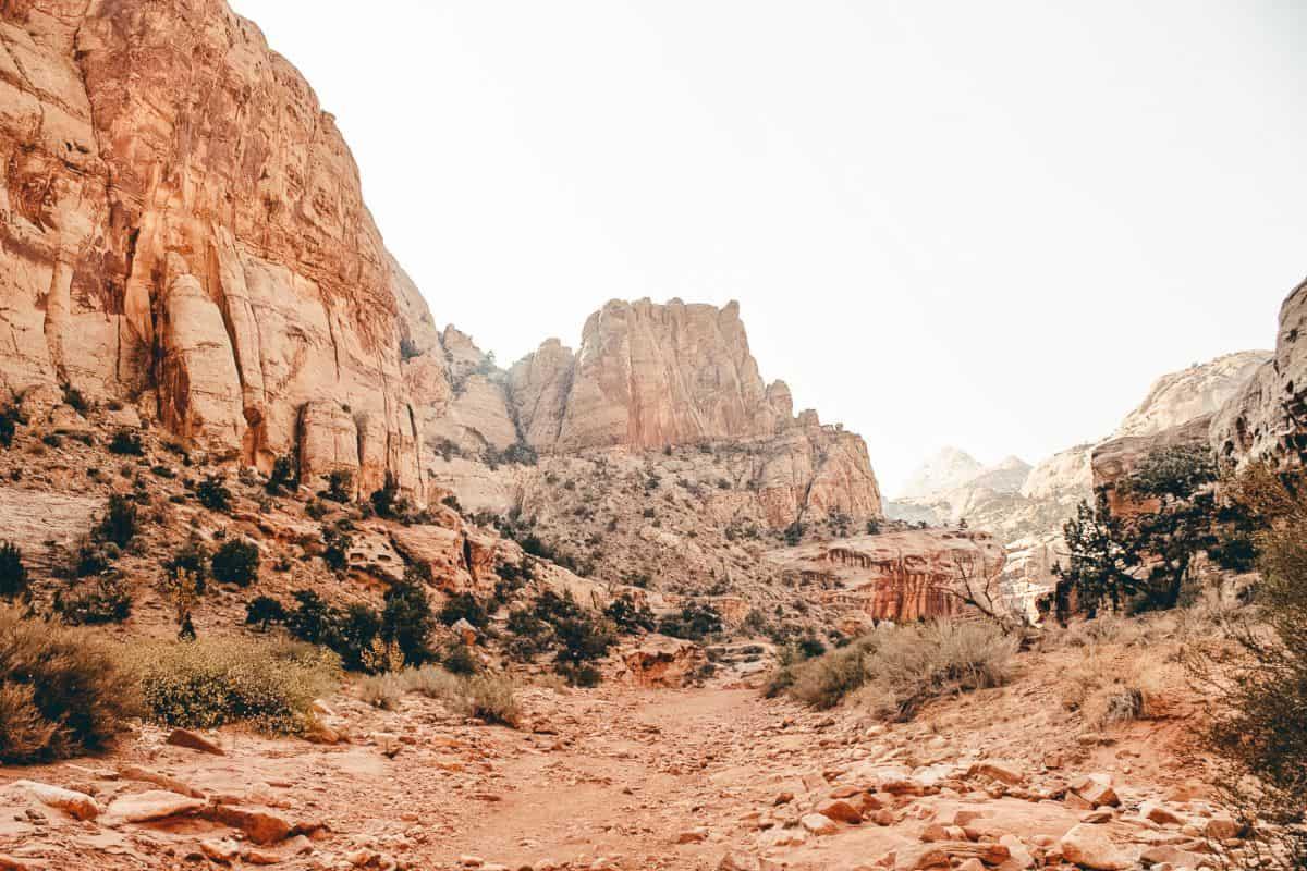 A rocky path through rock cliffs