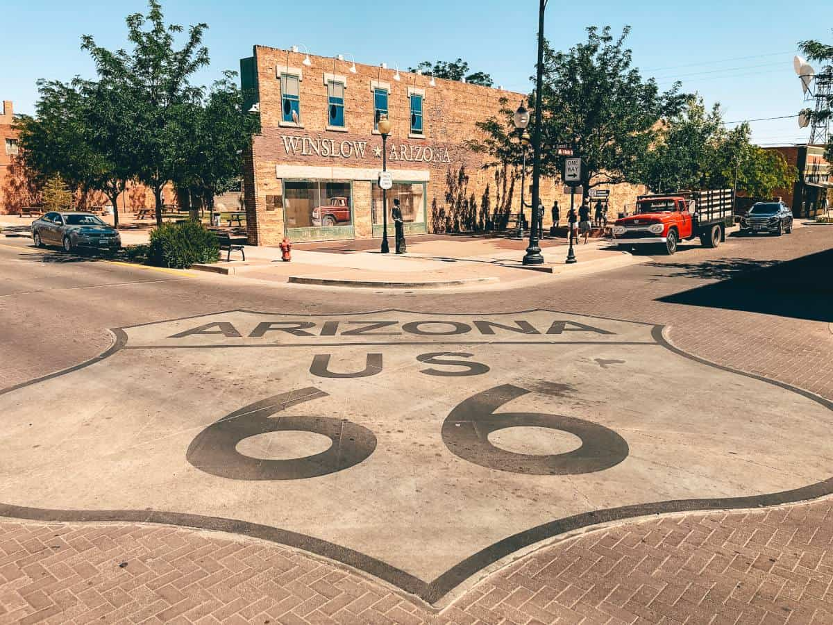 Route 66 sign painted onto the road