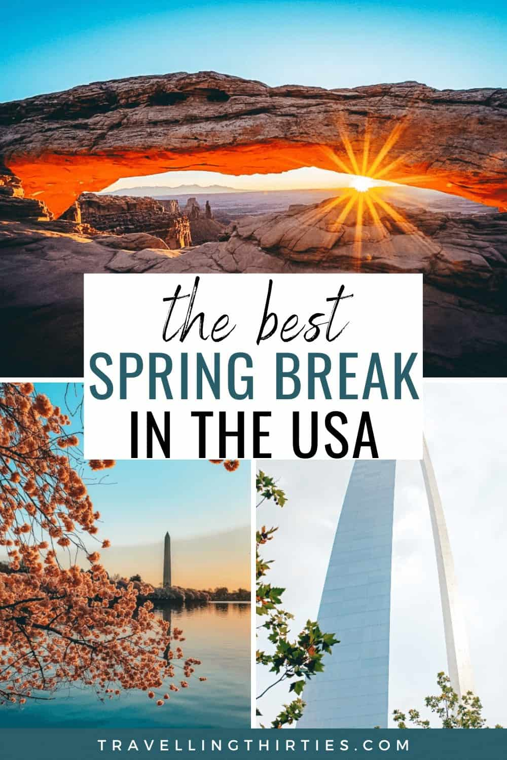 Pinterest graphic for the best spring break bucket list destinations in the usa