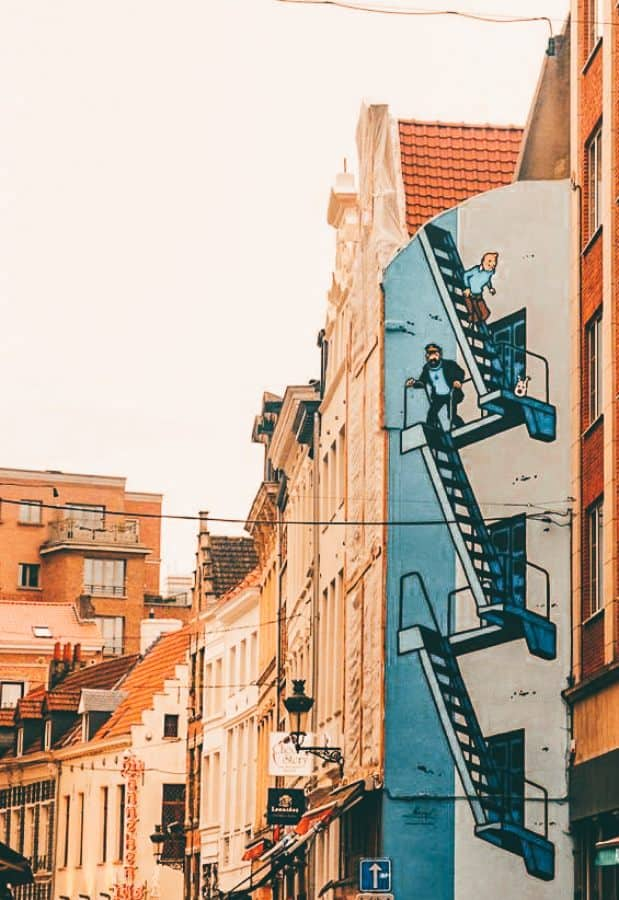 A Tin Tin drawing on the side of a building