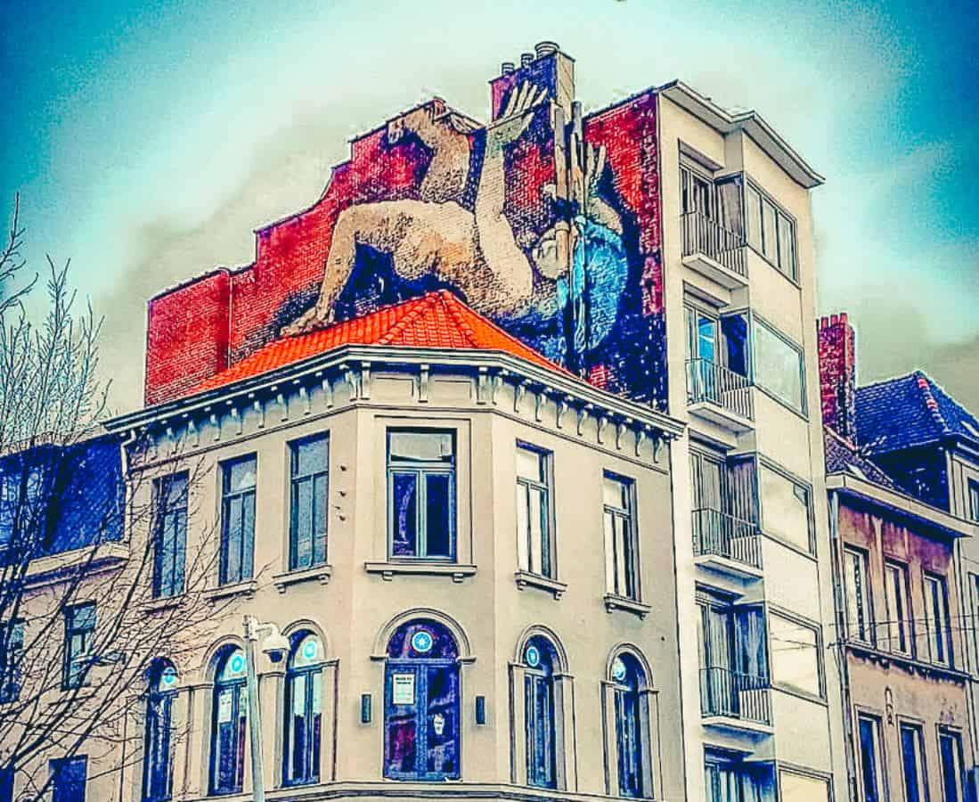 A mural on top of a building
