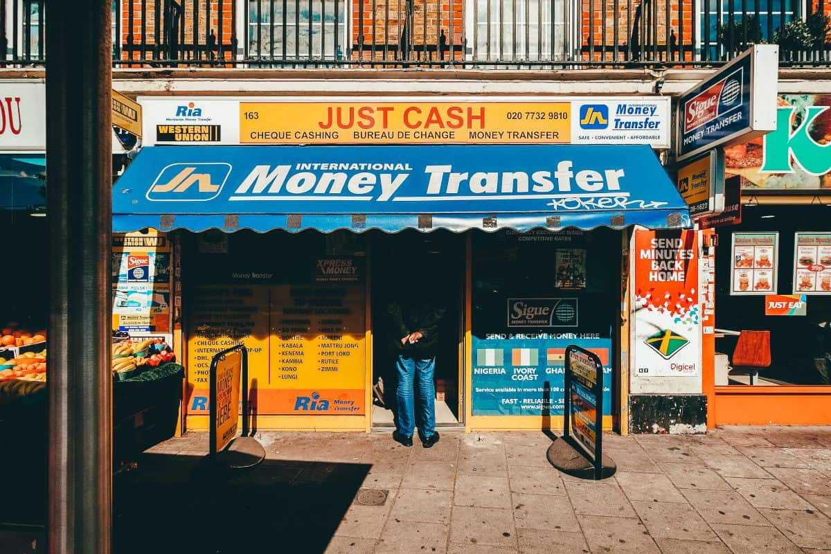 A shop front reading money transfer