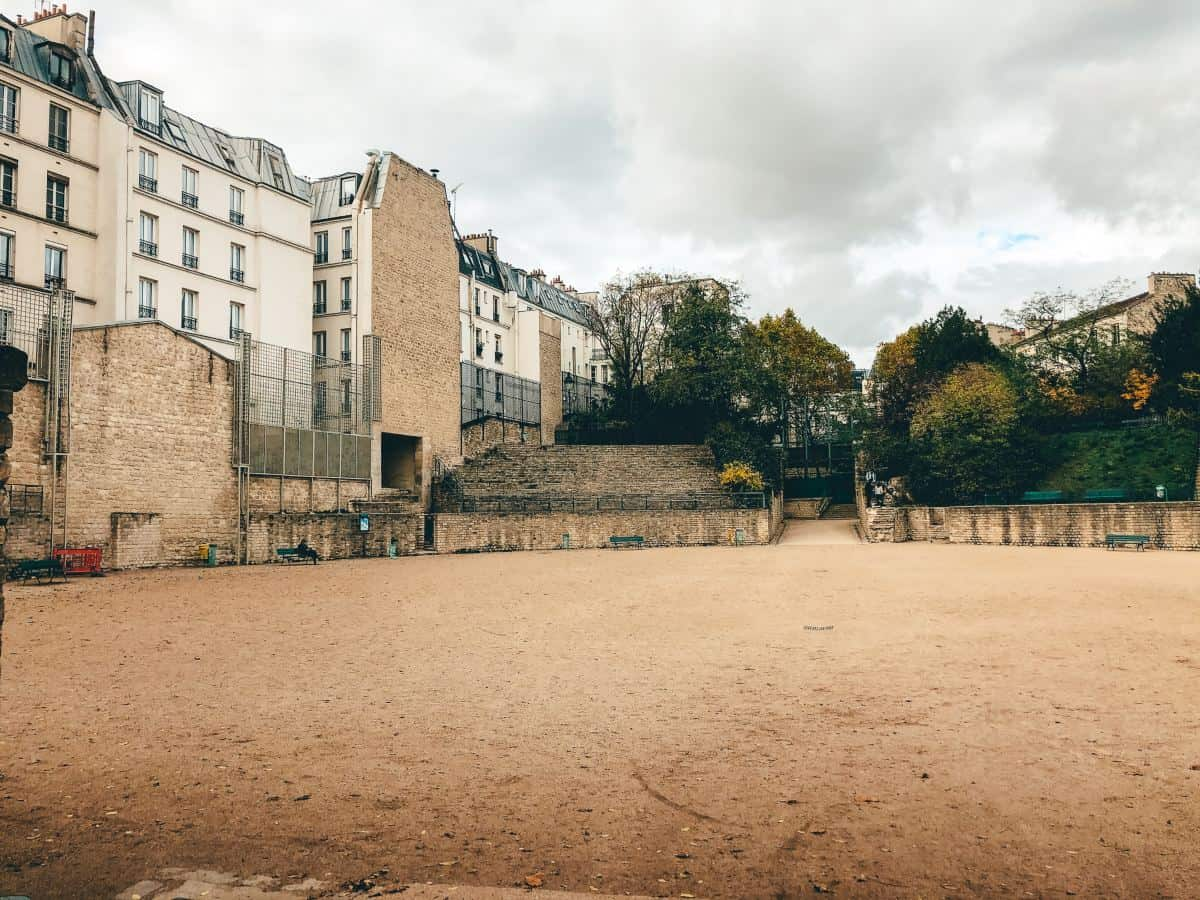 The remainder of the walls for the Arènes de Lutèce in Paris