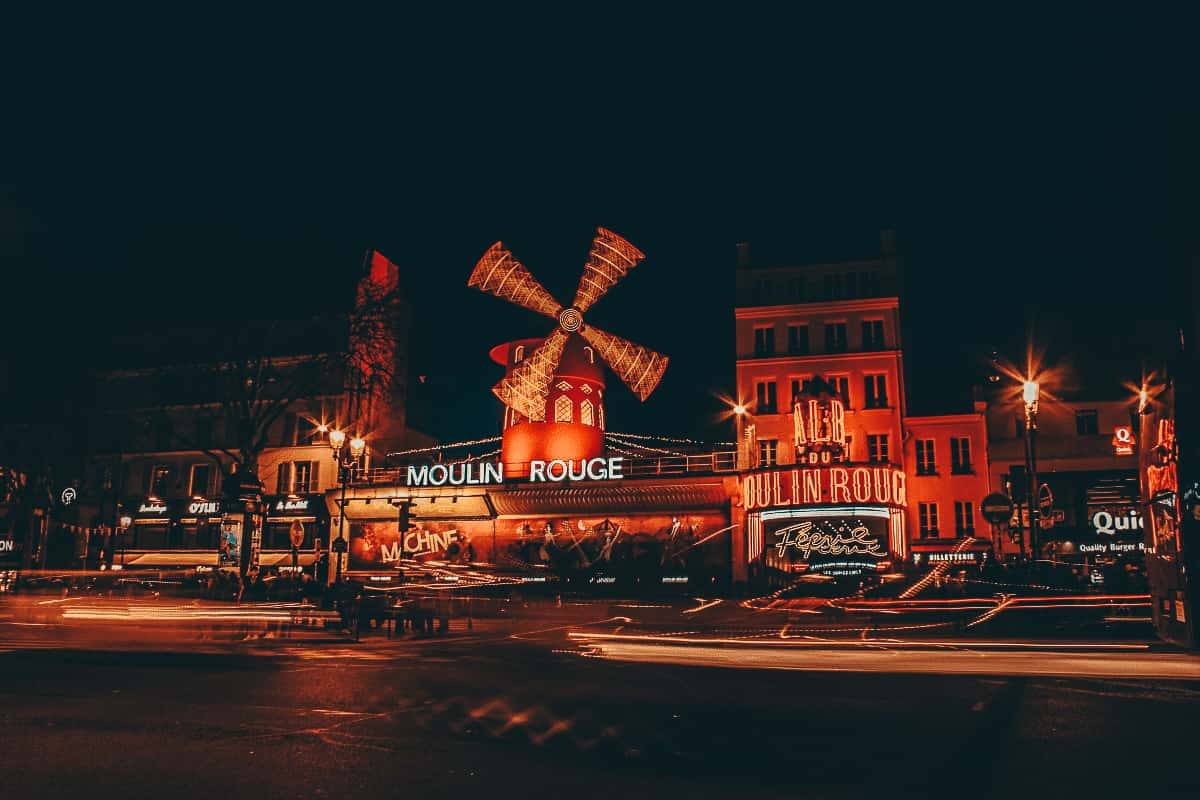 The moulin Rouge in Paris at night time