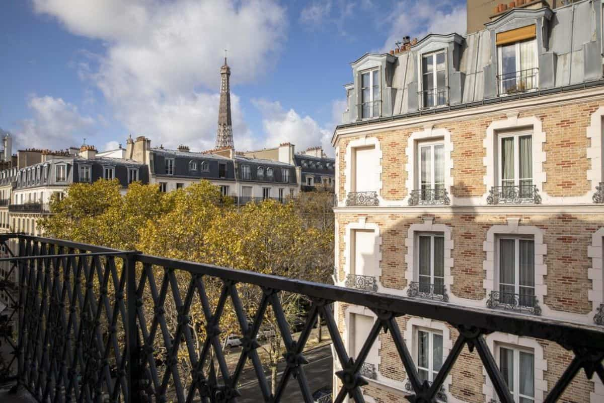 A view from a balcony towards the Eiffel Tower