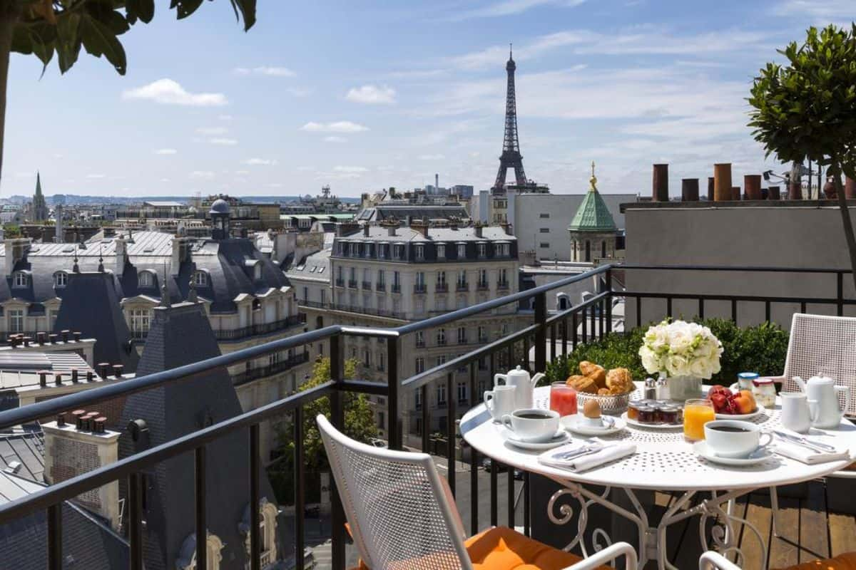 A balcony at one of the best Hotels in Paris with eiffel tower views