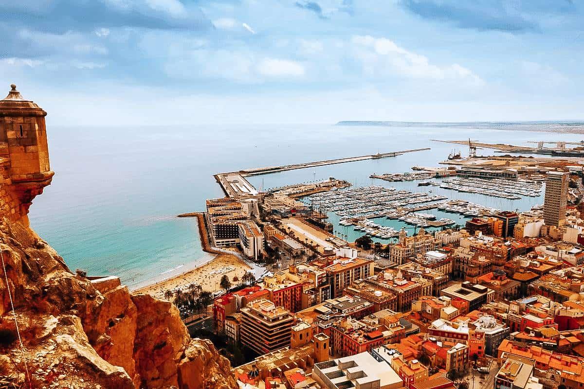 A view over Alicante, Spain towards the ocean