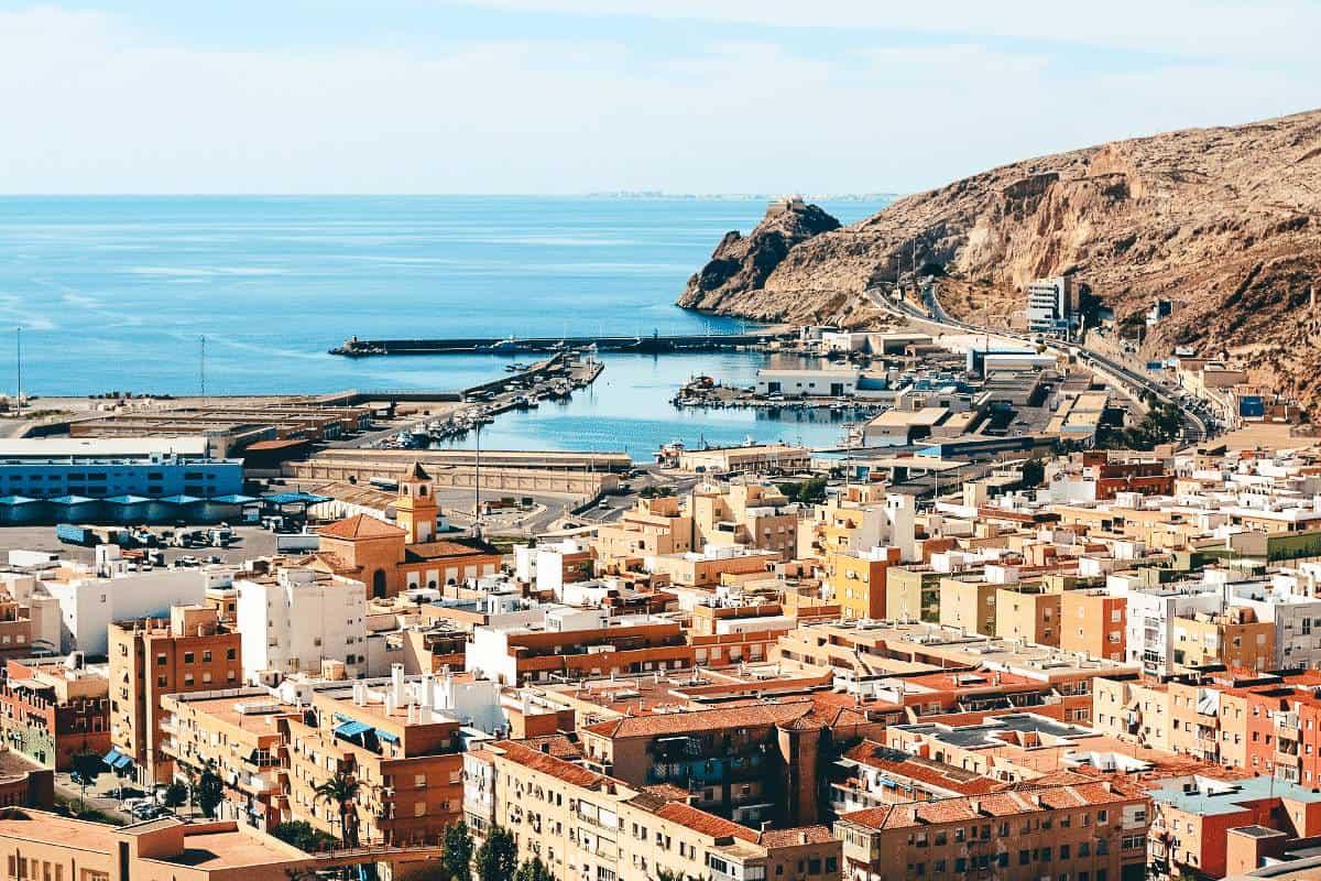 Buildings leading to the ocean in Almeria Spain