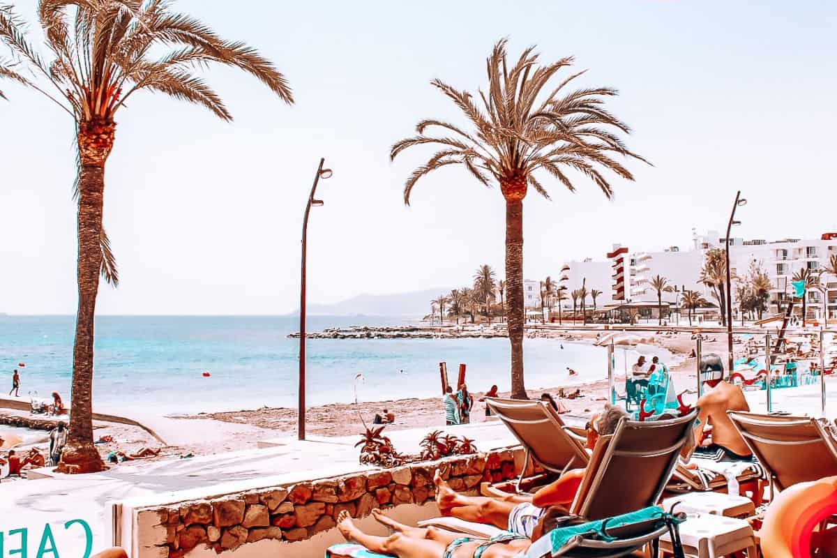 People relaxing on beach chairs under palm trees on a beach in Ibiza