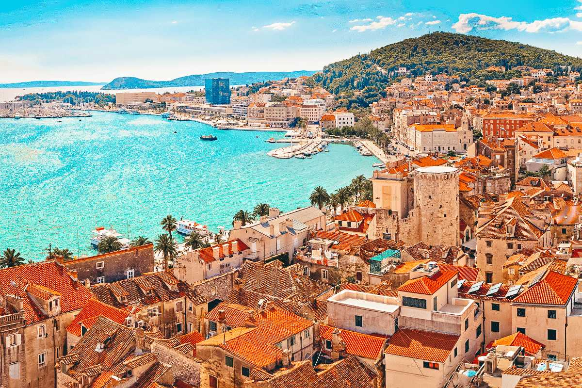 A view of the Terre cotter roofs looking out to the ocean in Split, Croatia
