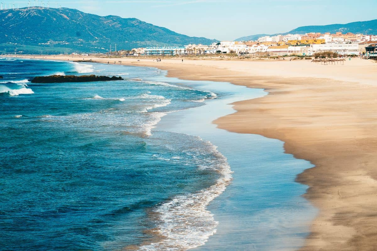 A view over the beach at Tarifa  in the South of Spain