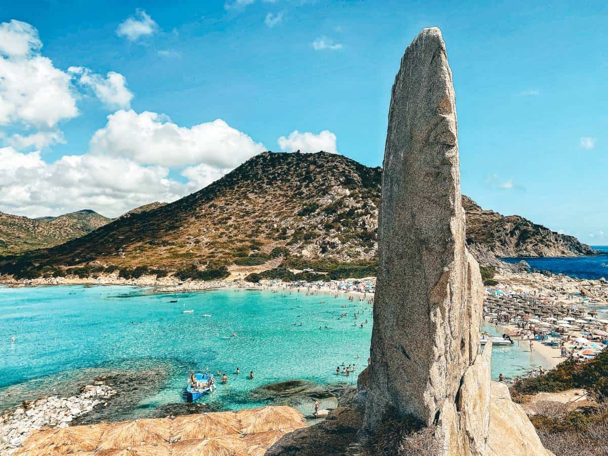 A rock monument over looking the water in Villasimius, Sardinia