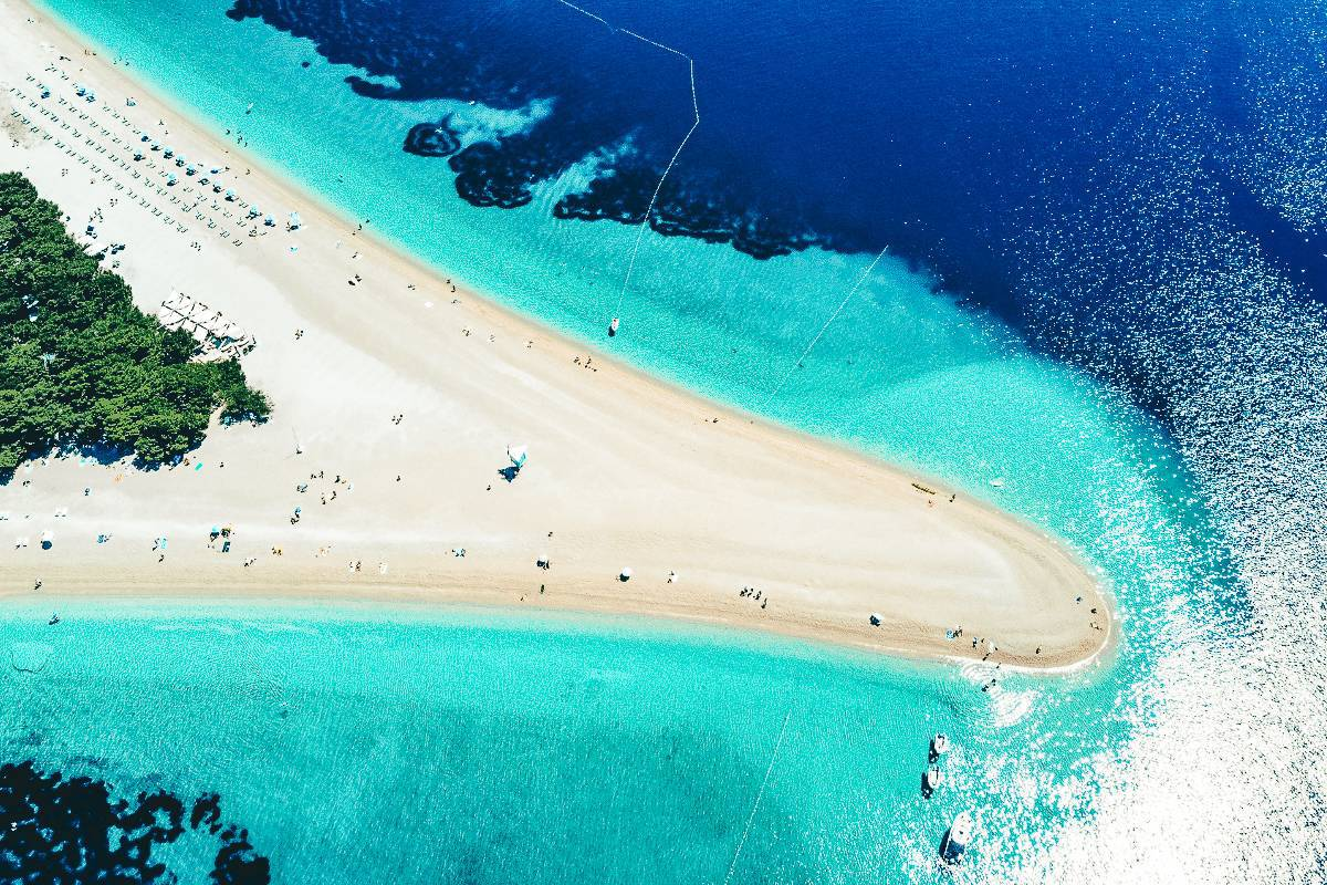 The sand protruding like a horn in the turquoise ocean in Croatia
