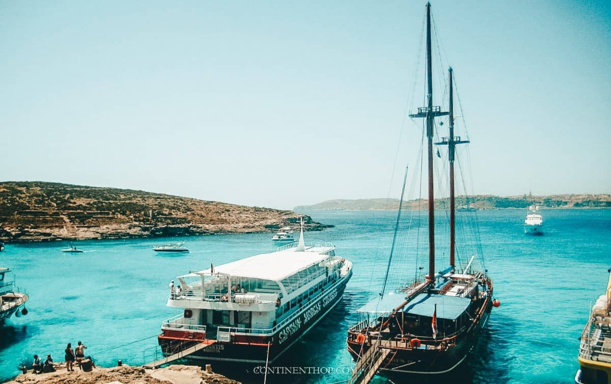 Boats sitting in the Blue Lagoon in Malta