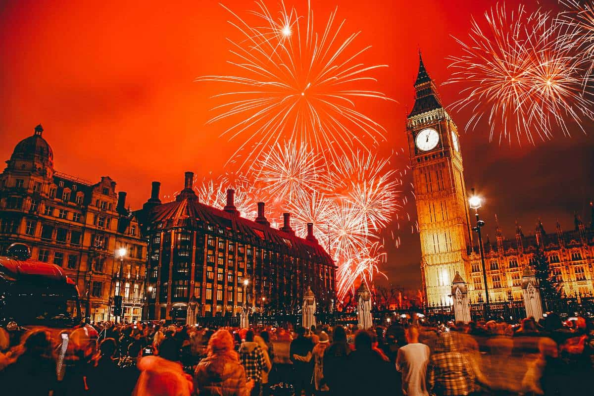 Fire works at Big Ben in London on New Years Eve