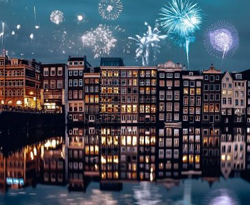 Fireworks over the canals in Amsterdam