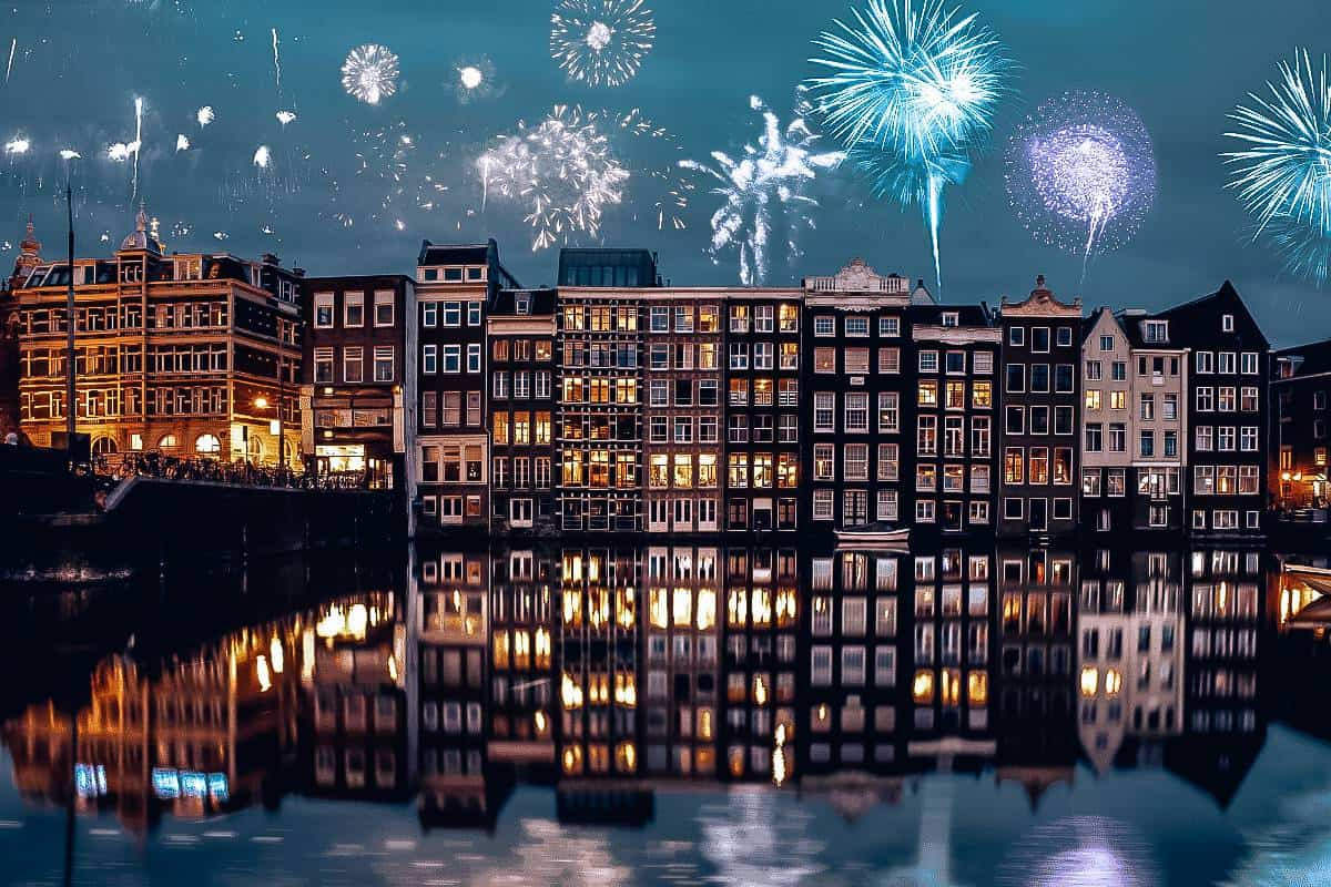 Fire works over the canals in Amsterdam