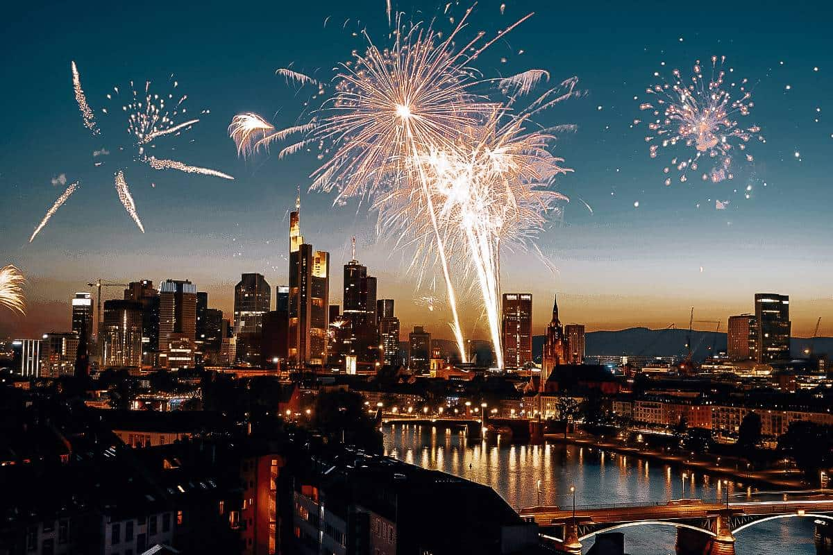 Fire works over Frankfurt city on New Years Eve