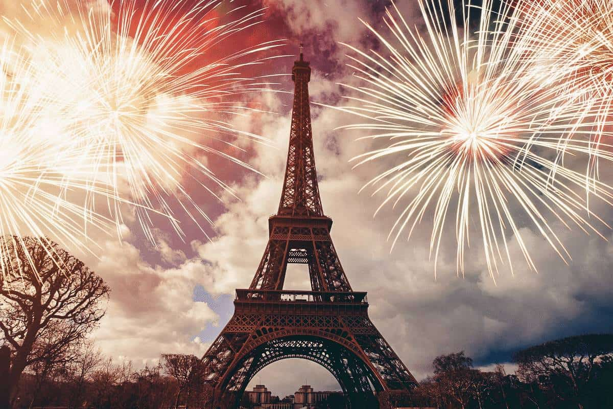 Paris one of the best places to spend New Years in Europe, check out the fire works over the Eiffel Tower