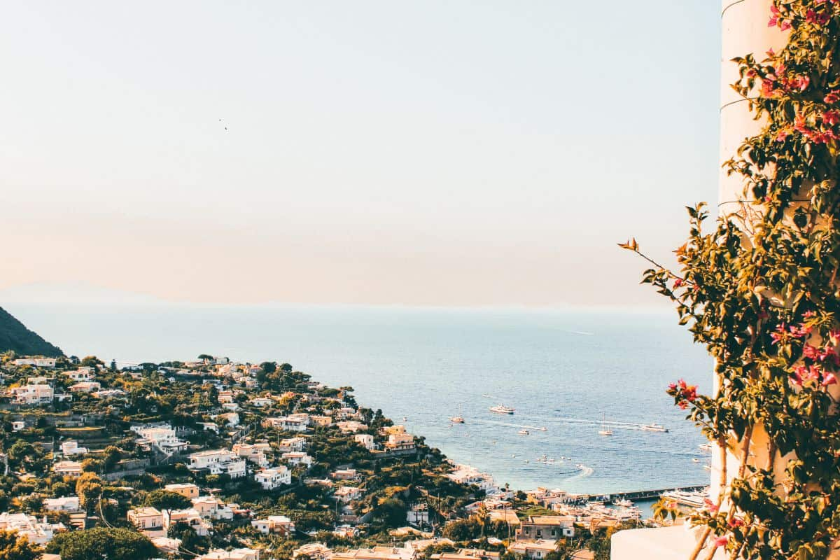 A pole wrapped with flowers overlooking Capri