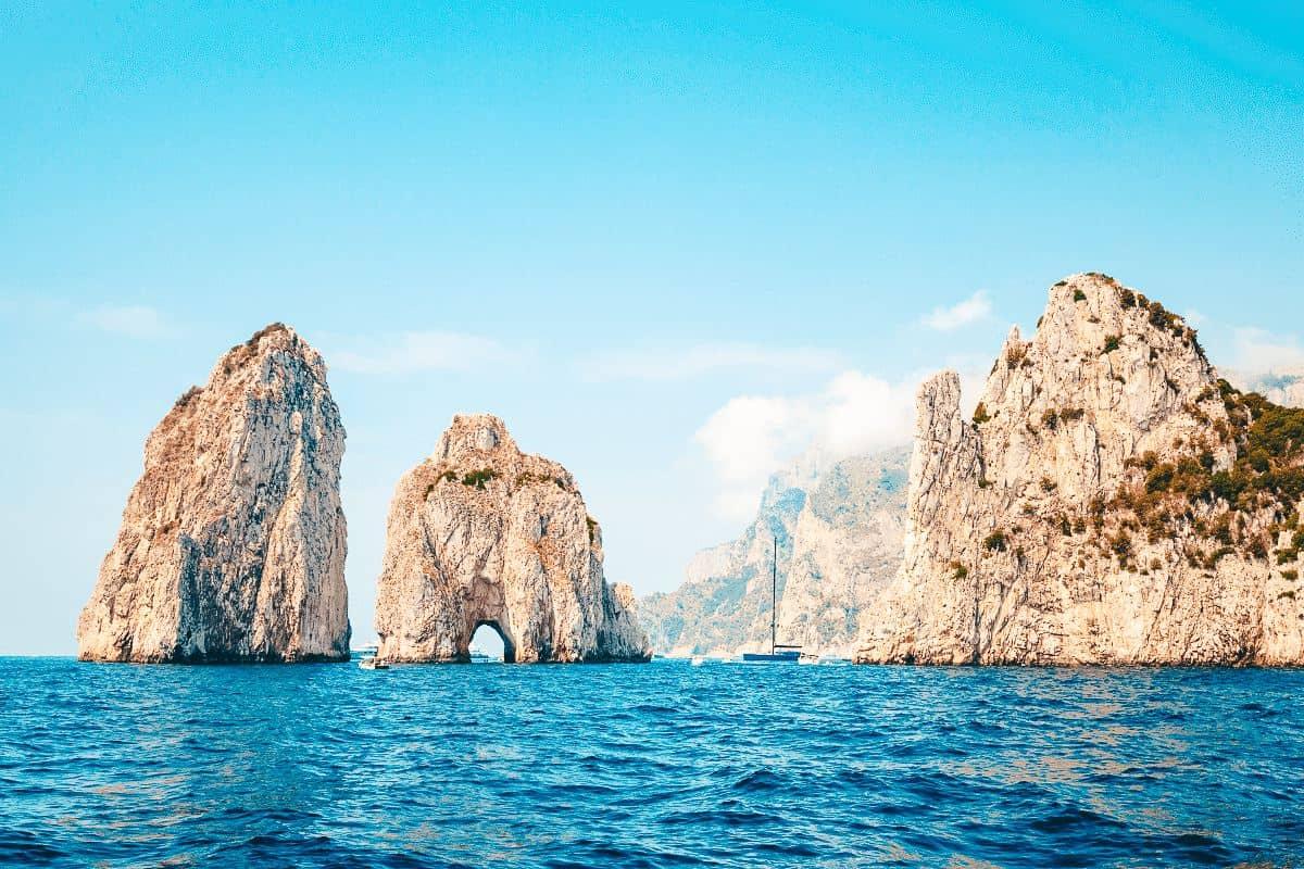 Faraglioni Rocks on a boat trip during a day trip to Capri
