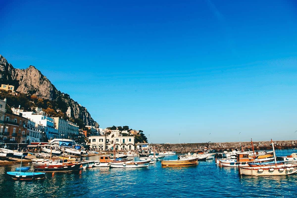 Boats in the Marina Grande in Capri