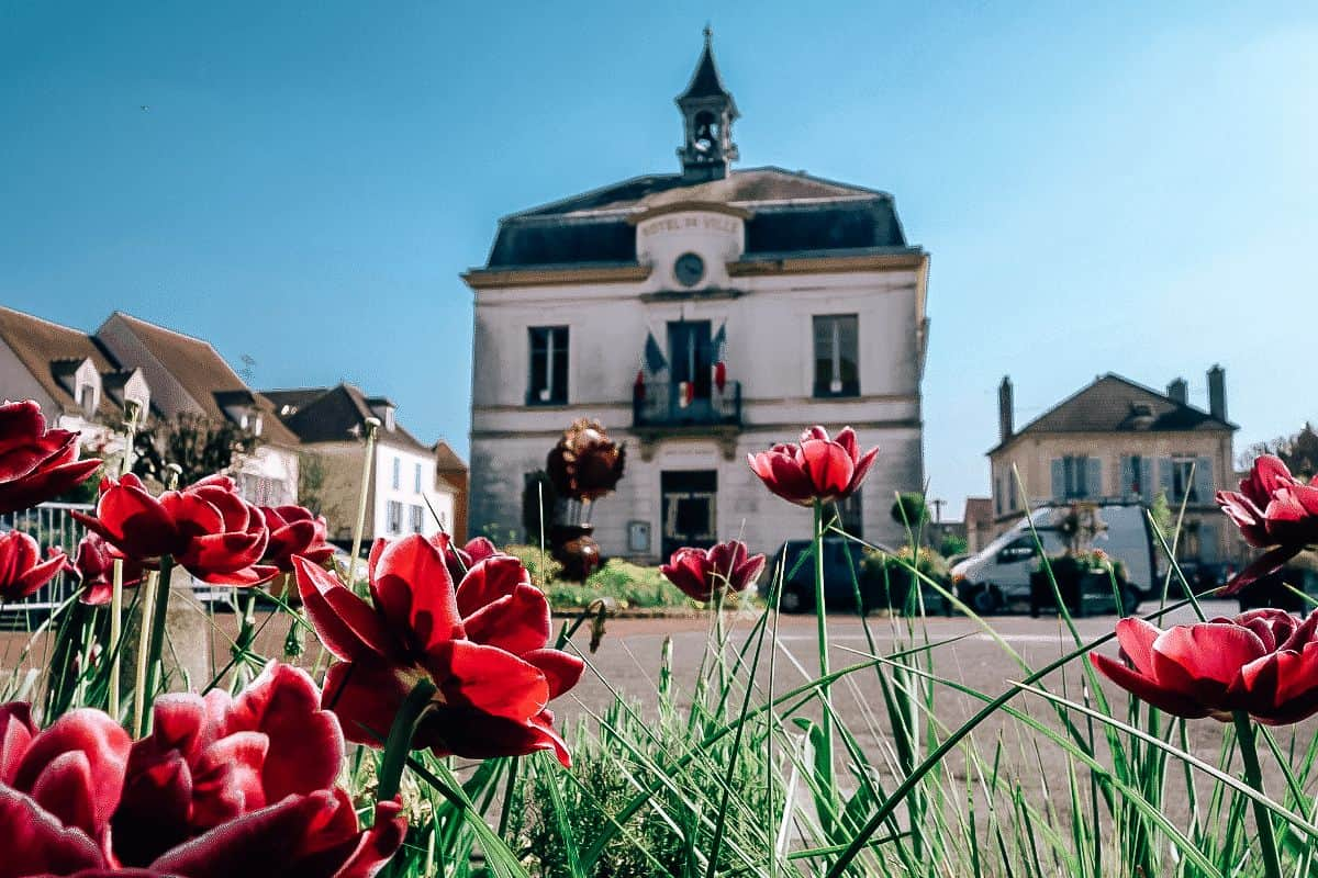 A building in Auvers-sur-Oise, France with pink flowers in the foreground