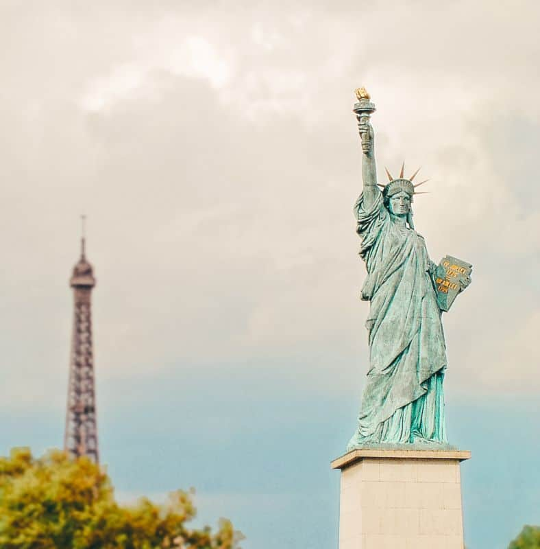 The statue of liberty in front of the Eiffel Tower, Paris